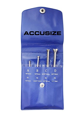 Accusize Industrial Tools 4 Pc Small Hole Gauge Set, Ball Type, inch/mm, 1/8 to 1/5, 1/5 to 3/10, 3/10 to 2/5, 2/5 to 1/2, Eg04-5001