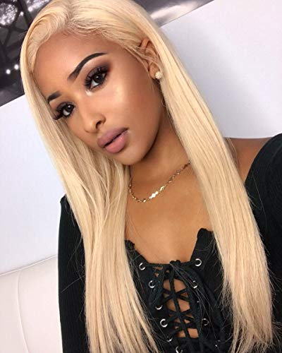 613 Full Lace Wig Human Hair With Baby Hair Blonde Full Lace Wig Pre Plucked Bleached Knots (18 inch, full lace wig)