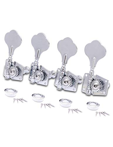 Metallor Vintage Open Gear Machine Heads Tuners Tuning Pegs 4 In Line Right Hand Guitar Parts Replacement for P Bass J Bass Chrome 4PCS