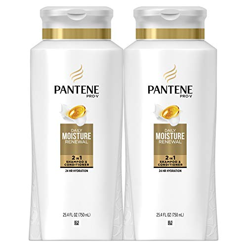 Pantene, Shampoo and Conditioner 2 in 1, Pro-V Daily Moisture Renewal for Dry Hair, 25.4 Fl Oz, Pack of 2