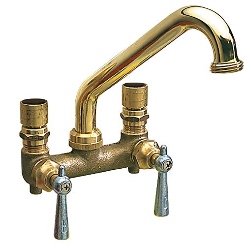 Plumb Craft Two Handle Laundry and Utility Faucet with Wall or Sink Mount Installation Options, Polished Brass