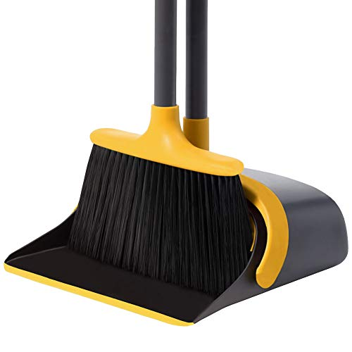 Broom and Dustpan Set Dustpan and Broom with Long Handle Upright Stand Up Dustpan Broom Combo for Lobby Office Home Room Kitchen Floor Use