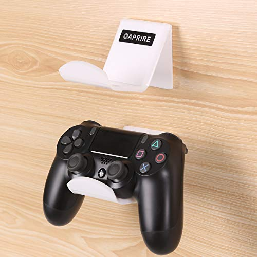 OAPRIRE Game Controller Holder Stand Wall Mount(2 Pack) for PS4 / Xbox One / Steam / Switch / PC Controller - Universal PS4 Xbox one Controller Accessories with Cable Clips - Stick on - White