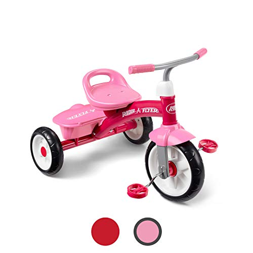 Radio Flyer Pink Rider Trike, outdoor toddler tricycle, ages 2  -5