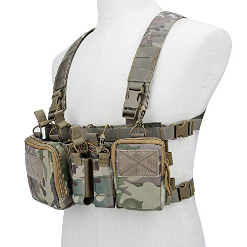 Lightweight Vest Military Recon Chest Rig with Molle Pocket Detachable Pouches-CP