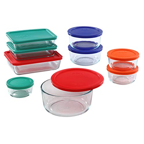 Pyrex Simply Store Meal Prep Glass Food Storage Containers (18-Piece Set, BPA Free Lids, Oven Safe),Multicolored
