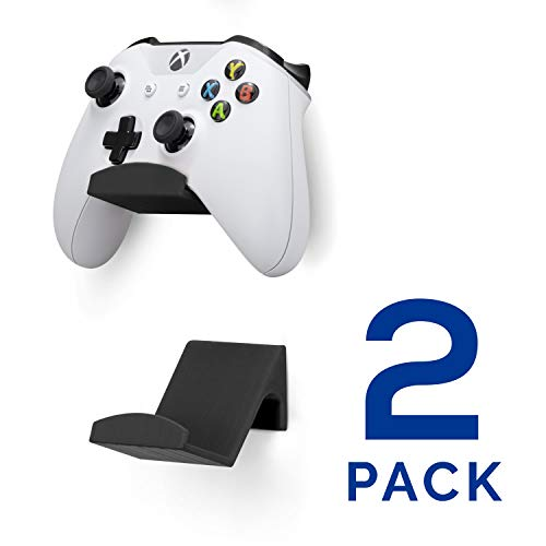 Game Controller Wall Mount Stand Holder (2 Pack) for XBOX ONE SWITCH PS4 STEAM PC NINTENDO, Universal Gamepad Accessories - No screws, Stick on, Black By Brainwavz (V2 - Improved Adhesion) UGC1
