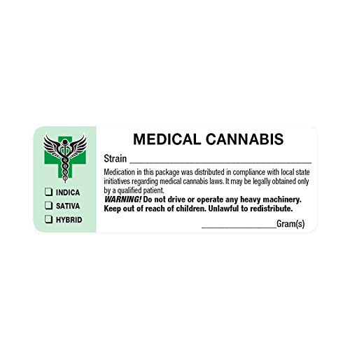 Generic Medical Identifications Labels - State Compliant Leaf Stickers (1000 Labels per roll)