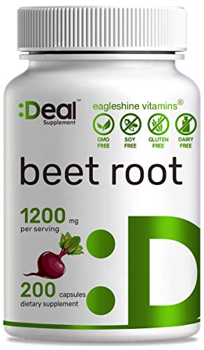 Deal Supplement Beet Root Capsules,1200mg Per Serving, 200 Count, Support Lower Blood Pressure, Improve Performance, Promote Skin Condition & Boost Immune System