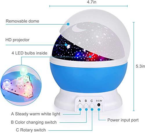 Baby Night Lights, Star Light Rotating Projector, 4 LED Bulbs 8 Modes for Children Kids Bedroom