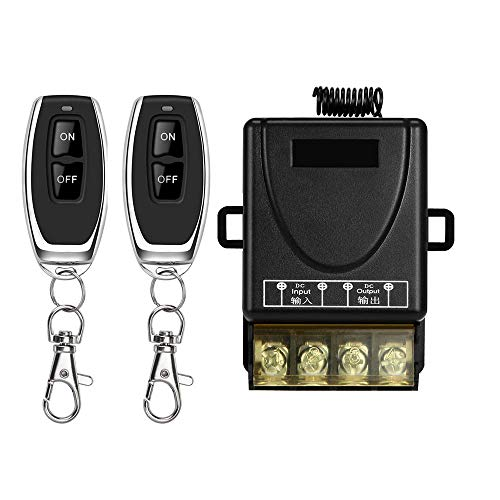 DONJON Wireless Remote Switch with 328ft Long Range DC 12V/24v/48v/72V Switch for Anti-Theft Alarms, Security Systems Roller Lind Door, Motor Cycles etc (Black)
