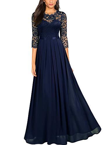 Miusol Women's Formal Floral Lace Wedding Bridesmaid Maxi Dress,Large,Navy Blue