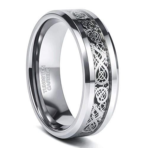 Frank S.Burton 8mm Mens Celtic Dragon Tungsten Carbide Ring Wedding Band Comfort Fit 11