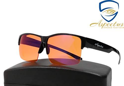 Aspectus Fitover Anti-Blue Light Blocking Computer Glasses   Fits Over Prescription Eyeglasses   Amber Orange   Better Night Sleep   Reduce Eyestrain Migraine Headaches Insomnia   Men & Women