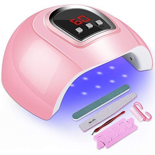 UV LED Nail Lamp 54W, Senignol Nail Dryer Gel Polish Light, UV Nail Light with 3 Timer Setting, Nail Polish Curing Gel LED Dryer, Including Nail Art Tools Set, Automatic Sensor, LCD Display (Pink)