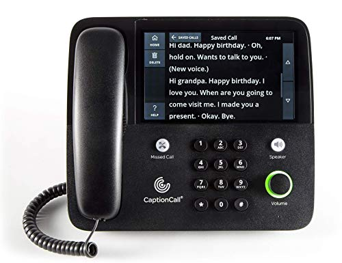 CaptionCall 67Tb Amplified Captioned Corded Home Telephone with Touch Screen, 58dB Amplification, Caller ID, Answering Machine, Bluetooth, Loud Ringer for Hearing Impaired