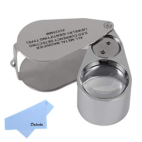 40X Full Metal Illuminated Jewelry Loop Magnifier,Delixike Pocket Folding Magnifying Glass Jewelers Eye Loupe with LED Light(LED Currency Detecting/Jewlers Identifying Type Lupe)