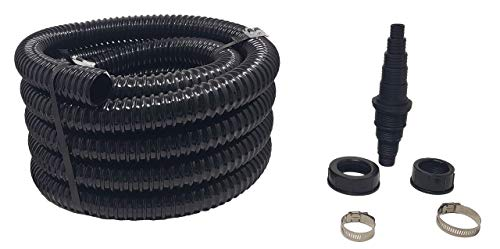 Sealproof Sump Pump Discharge Hose Kit with Universal Pump Adapter, Hose Clamps Included, Black 1-1/4' Dia Premium PVC Tubing, 24-Ft