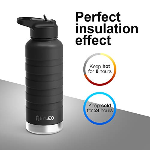 REYLEO Vacuum Insulated Water Bottle, Stainless Steel Water Bottle with Straw & 2 Lids (32oz 24oz 18oz), Double Walled Water Bottle with Standard Mouth Keeps Liquids Hot or Cold (Black)