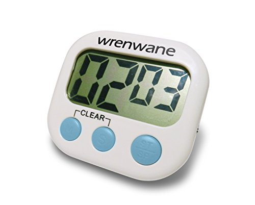 Wrenwane Kitchen Timer (Upgraded), No Frills, Simple Operation, Big Digits, Loud Alarm, Magnetic Backing, Stand, White