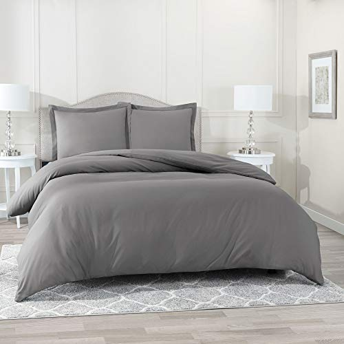 Nestl Bedding Duvet Cover, Protects and Covers your Comforter/Duvet Insert, Luxury 100% Super Soft Microfiber, King Size, Color Charcoal Gray, 3 Piece Duvet Cover Set Includes 2 Pillow Shams