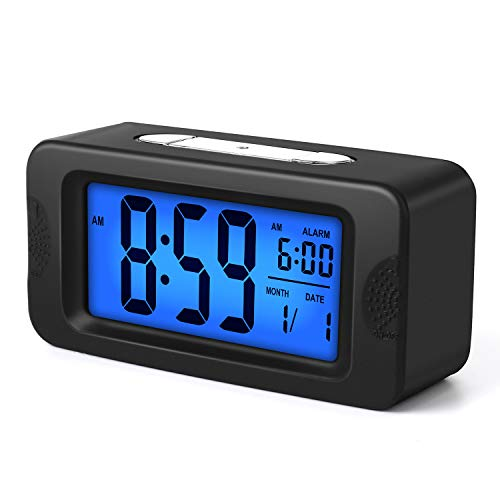 Plumeet Digital Alarm Clocks Kids Clock Light Up All Night, 4'' LCD Display Showing Time Alarm Date - Bedside Clocks with Snooze for Bedroom Kitchen Office Battery Operated (Black)