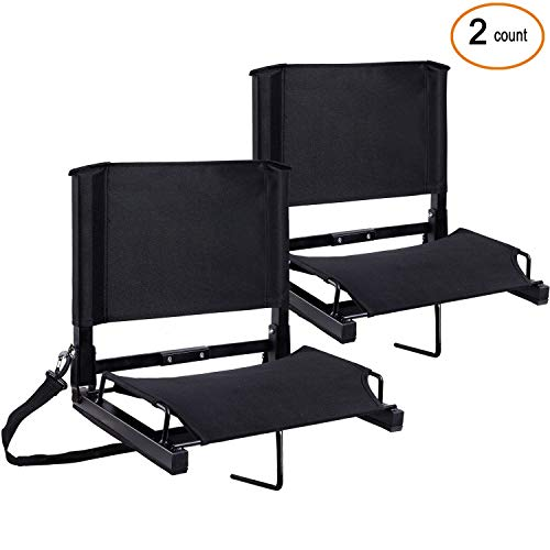 Ohuhu Stadium Seats Bleacher Seat Chairs with Backs and Cushion, Folding & Portable, Bonus Shoulder Straps, (Black, 2 Pack)
