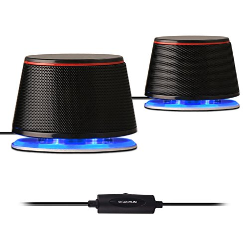 Sanyun SW102 Computer Speakers, 5Wx2, Deep Bass in Small Body, Stereo 2.0 USB Powered 3.5mm Aux Multimedia Speakers, Built-in Bottom Bass Radiators, PC Laptop Desktop Speakers, Black