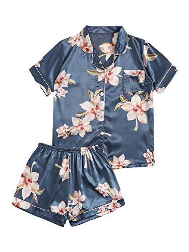Floerns Women's Notch Collar Palm Floral Print Sleepwear Two Piece Pajama Set Multi-Blue M