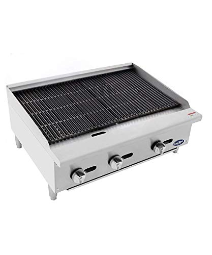 CookRite ATRC-36 Natural Gas Radiant Commercial Charbroiler Heavy Duty BBQ Grill Broiler - 105,000 BTU