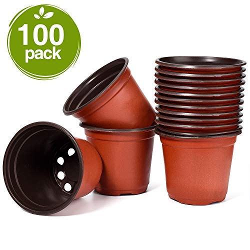 Delxo 100 Pcs 4 Inch Plants Nursery Pots Reusable Plant Seeding Nursery Pot Waterproof Plastic Pots Seed Starting Pots