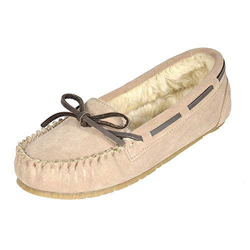 DREAM PAIRS Women's Shozie-01 Sand Faux Fur Slippers Loafers Flats Shoes Size 8.5-9 M US
