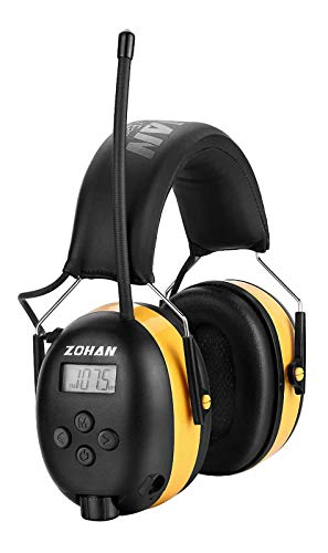 ZOHAN EM042 AM/FM Radio Headphone with Digital Display, Ear Protection Noise Reduction Safety Ear Muffs, Ultra Comfortable Hearing Protector for Lawn Mowing and Landscaping - Yellow