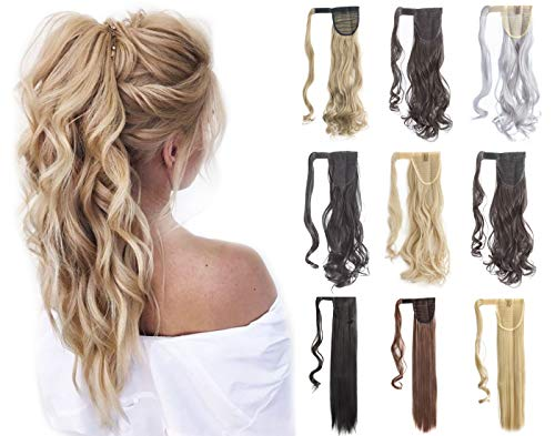 Felendy 18' 24' Ponytail Extension Curly Straight Drawstring Hairpiece Wrap Around Long Hair Extension for Women Dark Black