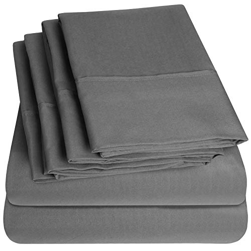 Sweet Home Collection Queen Sheets-6 Piece 1500 Thread Count Fine Brushed Microfiber Deep Pocket Set-EXTRA PILLOW CASES, VALUE, Gray