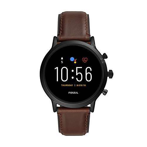 Fossil Unisex 44MM Gen 5 Carlyle HR Heart Rate Stainless Steel and Leather Touchscreen Smart Watch, Color: Black/Brown (Model: FTW4026)