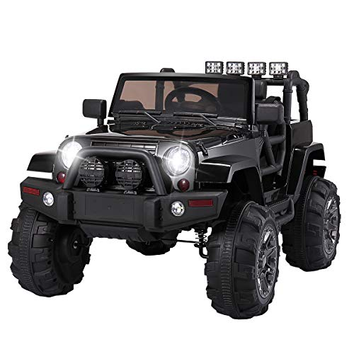 TOBBI Kids Ride on Truck Style 12V Battery Powered Electric Car W/Remote Control Black