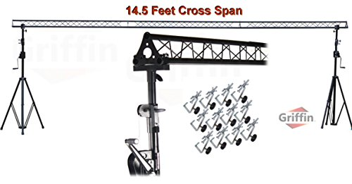 Crank Up Triangle Light Truss System by Griffin DJ Trussing Stand for Light Cans & Speakers Pro Audio Stage Lighting Hardware Package Equipment Mount Portable Gear Holder for Parties, Music, Live Gigs