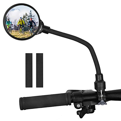 West Biking Bicycle Mirrors Handlebar Mount, Adjustable Rotatable Bike Rear View Glass Mirror, Wide Angle Flexible Acrylic Convex Safety Mirror for Mountain Road Bike