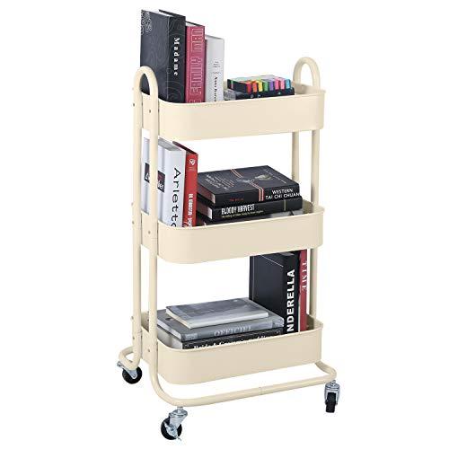 3-Tier Metal Mesh Utility Rolling Cart Storage Organization Cart with Wheels, Beige