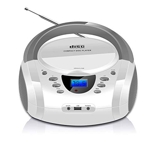LONPOO Portable CD Player Boombox Bluetooth Stereo MP3 / CD Player with FM Radio, Aux-in & USB & Headphone Jack