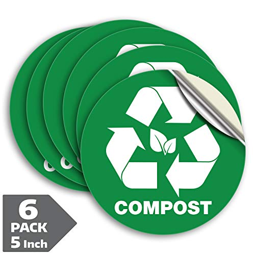 Compost Sticker for Trash Can Bins, Sign Decal - 6 Pack 5 in  Premium Self-Adhesive Vinyl, Weatherproof, UV Resistant, Encourage Recycling, Indoor and Outdoor.