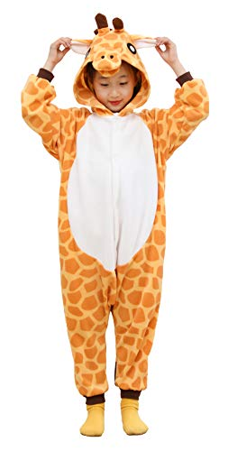 Unisex Kids Onesie Giraffe Animal Pajamas One Piece Cosplay Costume Sleepwear Girls Boys Halloween (10-12 Years, Yellow)