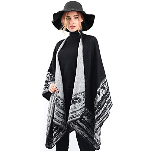 VBIGER Women Winter Scarf Wrap Reversible Oversized Poncho Cape Cardigan Knitted Coat