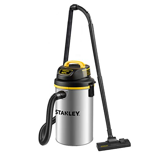 Stanley Wet/Dry Vacuum SL18133, 4.5 Gallon 4 Horsepower Wall-Mounted Hanging Vacuum with 26 Cleaning Range Stainless Steel Tank, Home/Garage/Upholster/Laundry Rooms Vacuum
