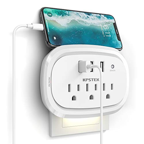 USB Plug Outlet Extender, KPSTEK Multi Outlet Surge Protector with 3 USB Ports and Night Light, Home Office Accessories with 900J, White – KS169