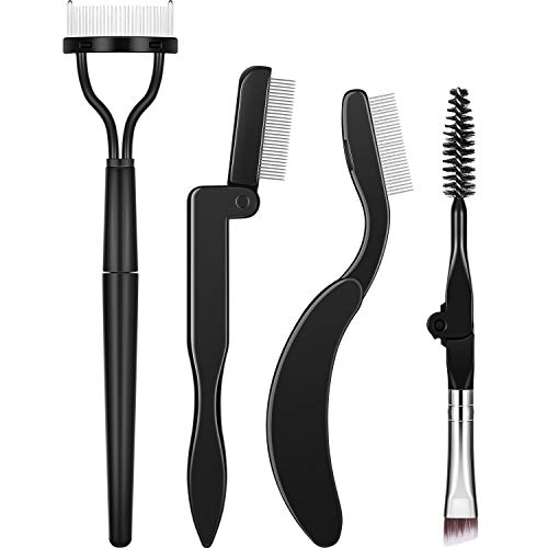 Folding Eyebrow Comb Eyelash Separator Eyebrow Eyelash Grooming Brush for Making Up Supplies (Style A, 4 Pieces)