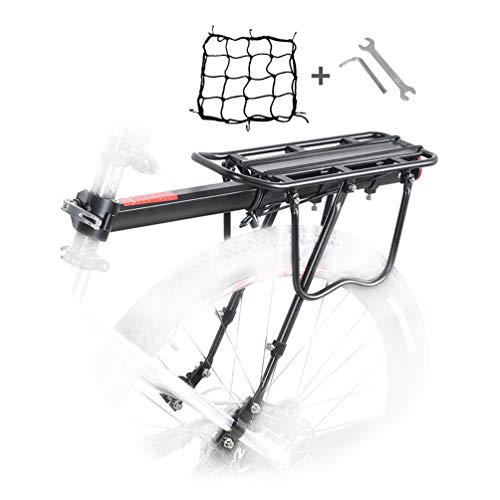 Bike Rear Rack, Bicycle Luggage Rack Aluminum Cycling Carrier Rack Mountain Bike MTB Luggage Cargo Rack with Reflector and Cargo Net