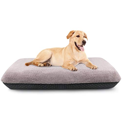 Idepet Dog Bed, Inflatable Dog Sleeping Mat, Dog Kennel, Washable Plush Cover, Non-Slip Bottom, Durable and Comfortable Dog Bed for Large Medium Small Puppy Dogs (37x24x4 inch)