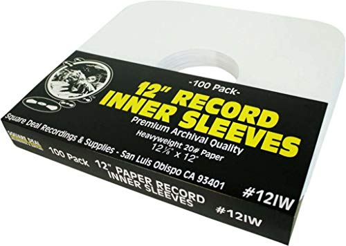 12' Vinyl Record Sleeves - Heavyweight White Paper Inner Sleeves - Archival Quality, Acid-Free! Set of 100 #12IW